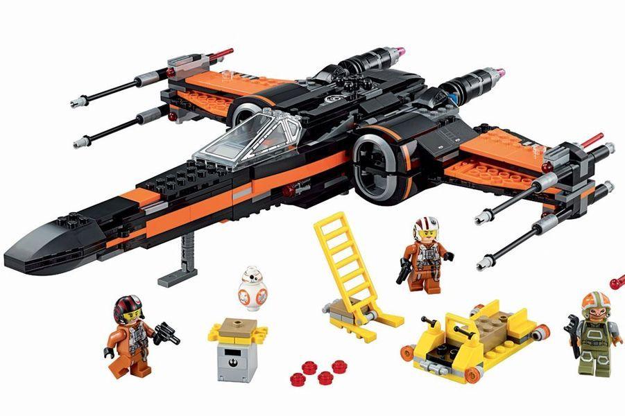 Le vaisseau – 11 centimètres de hauteur et 37 de longueur – comprend 717 pièces dont des fusils à ressorts, un train d'atterrissage rétractable, des ailes et un cockpit qui s'ouvrent et un chargeur avec des missiles et des munitions supplémentaires. Poe's X-Wing Fighter, Lego, 99,99 €.