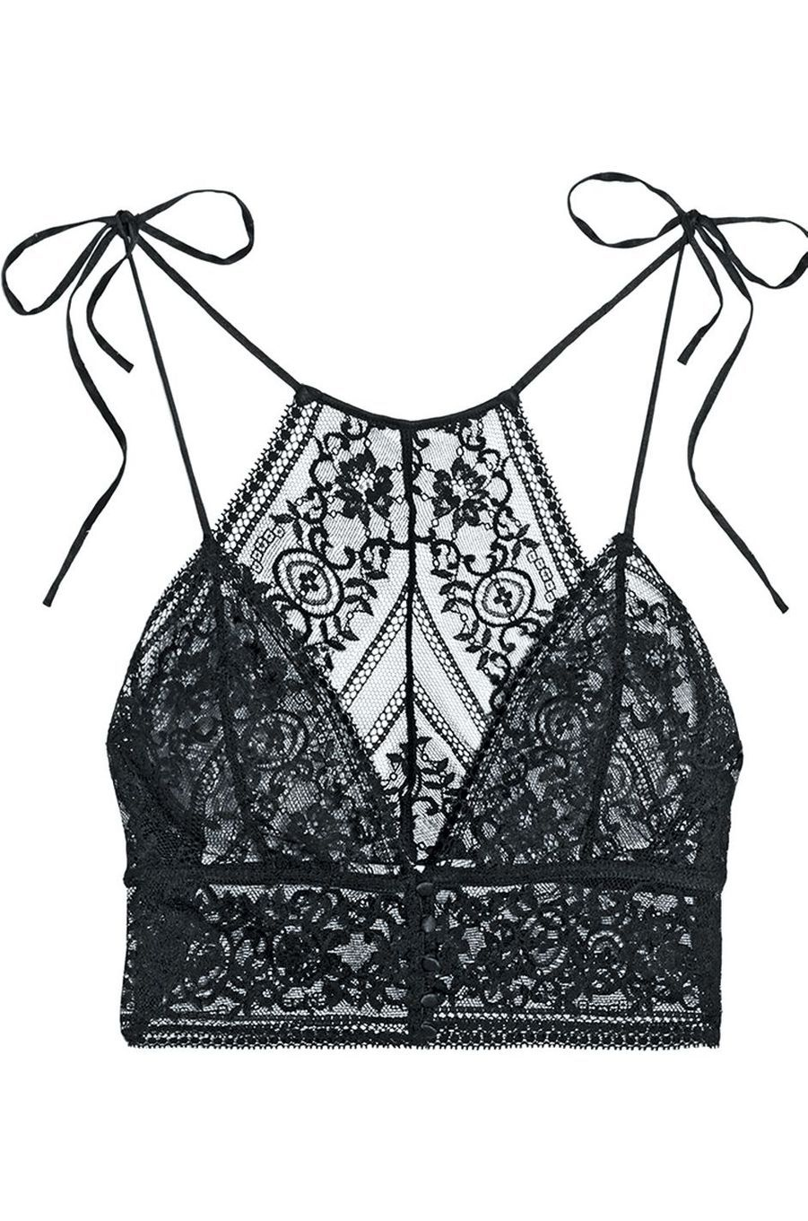 Soutien-gorge en dentelle Leavers Stretch et en satin Ophelia Whistling, Stella McCartney sur Net-a-porter, 180 €.