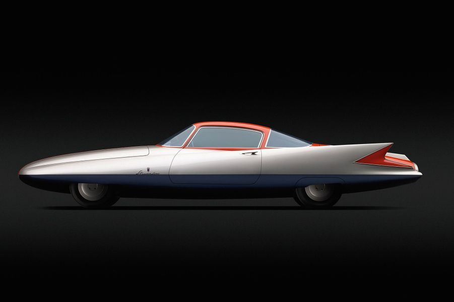 CHRYSLER GHIA STREAMLINE X GILDA (1955)Présenté au Salon de Turin 1955, ce dream car, signé du carrossier italien Ghia, tient son nom du personnage interprété par Rita Hayworth dans le film « Gilda » de Charles Vidor, sorti en 1946. Conçue pour Chrysler, sa ligne cunéiforme, ponctuée d'immenses dérives, répond à l'exubérance américaine de l'époque.