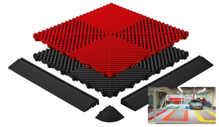 Dans un style très paddock, ces dalles de garage, créées par Polydal, concilient étanchéité et effet visuel. En plus, elles sont réutilisables à l'infini. 40,63 euros le mètre carré.