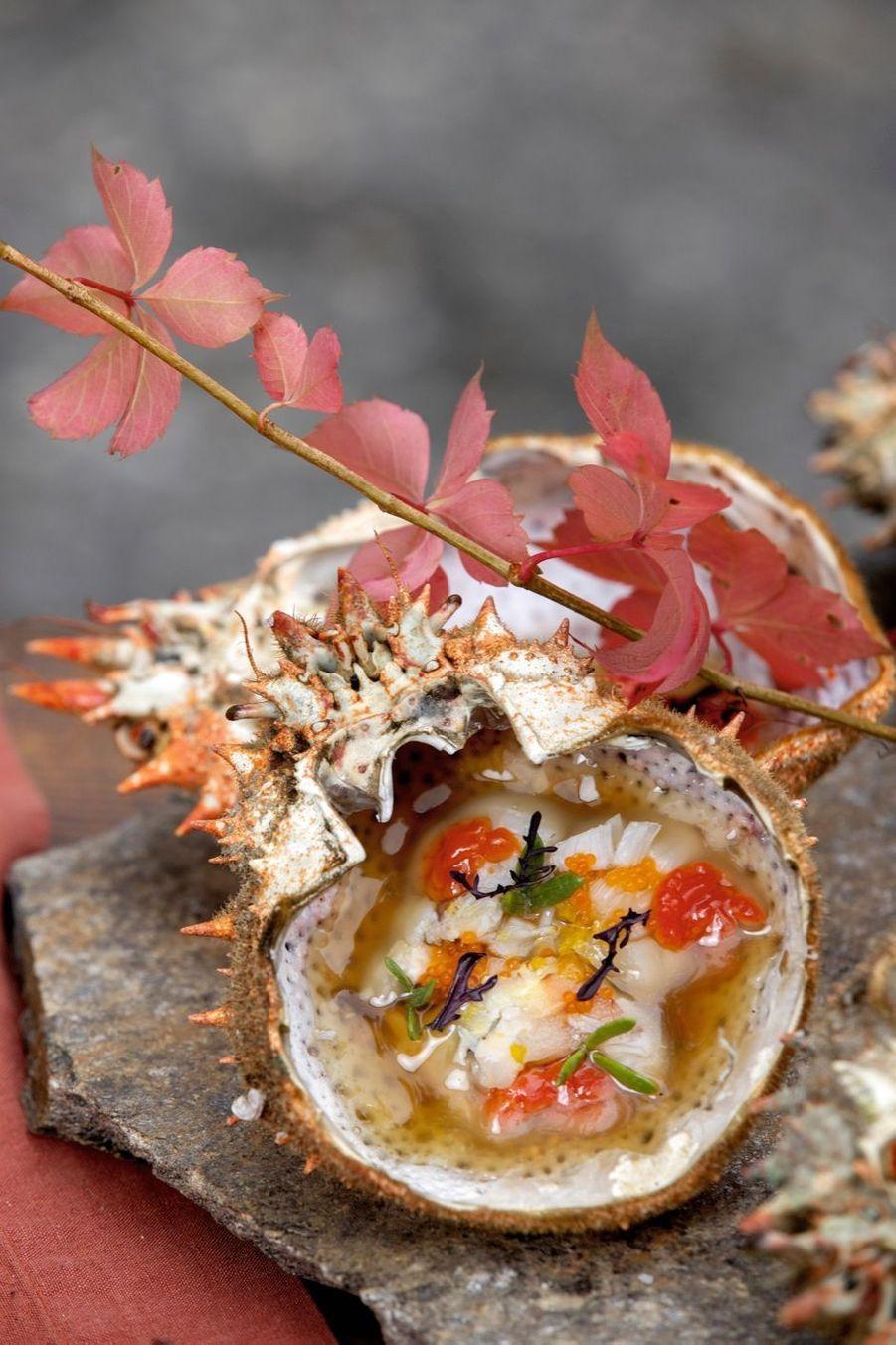 L'araignée de mer crue de Gérald Passédat est une explosion d'iode, mais aussi un tableau aux couleurs de l'automne.