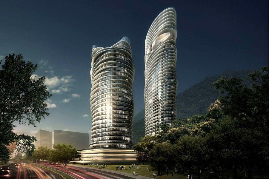 Un espace détente au 35e étage d'une tour composée d'appartements.