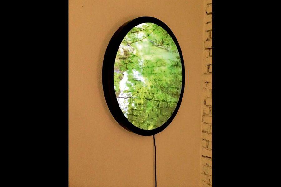 De loin c'est une photo ; en s'approchant, elle s'eface et le visage apparaît. Le dispositif, inventé par le designer coréen Kim Heewon, laisse imaginer de nombreuses applications déco. Il a été présenté au Salon du meuble à Milan et à Maison & Objet à Paris en 2014. kimheewon.com.