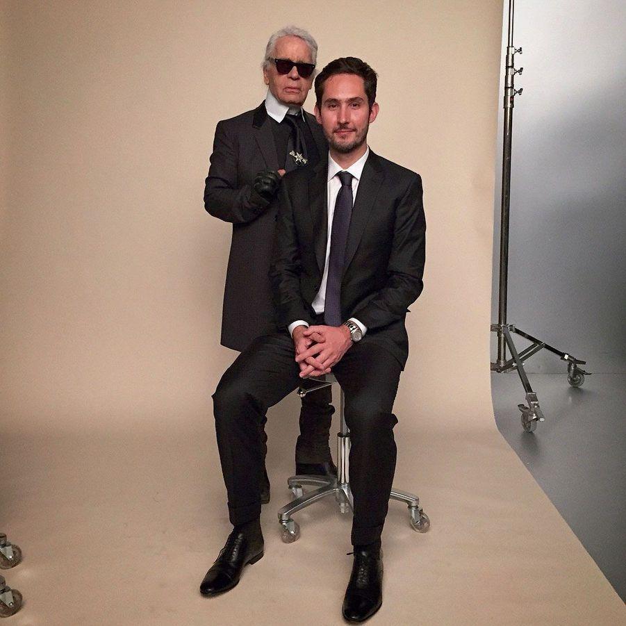 """Avec Karl Lagerfeld, le 4 mars, """"l'accomplissement d'une vie"""", confiera Kevin sur son compte Instagram."""