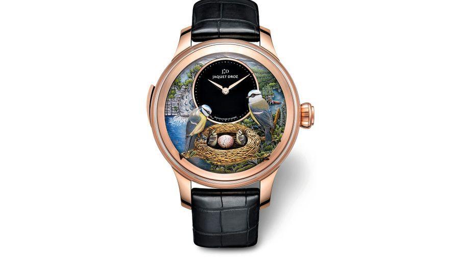 Un hommage à Pierre Jaquet-Droz, génie horloger passionné d'automates. The Bird Repeater, boîte en or rouge (47 mm), mouvement mécanique à remontage manuel. Jaquet Droz, 415 300€, Numerus Clausus à 8 exemplaires. http://jaquet-droz.com.
