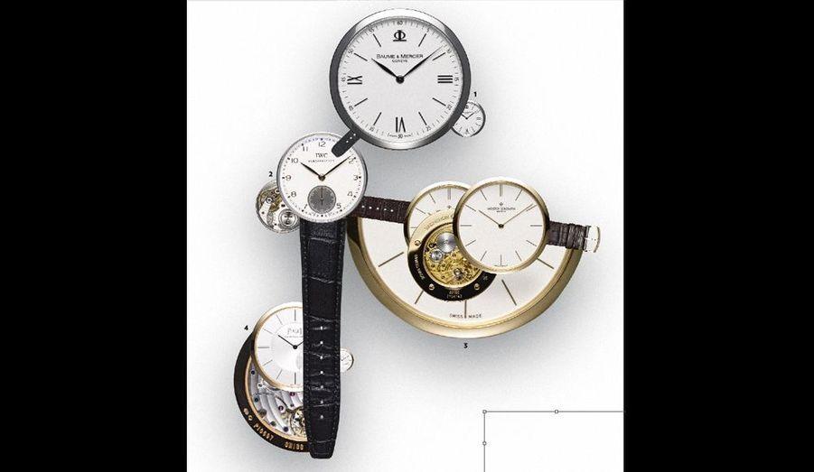 Les nouvelles montres de ville masculines adoptent la ligne ultra-slim de leurs propriétaires. Bracelet croco et boucle à ardillon de rigueur.1. La 8 850 Ultra Thin, de Baume&Mercier, 1 090 €. 2. La Portugaise Remontage Manuel, de IWC, 6 500 €. 3. L'Historique Ultra-fine 1955, de Vacheron Constantin, 19 500 €. 4. L'Altiplano, de Piaget, 13 900 €.