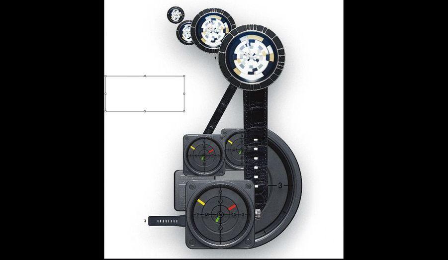 Quand le design cible l'horlogerie, d'étranges disques se mettent en mouvement pour jouer une partition au rythme du temps.1. La Christal Mystérieuse, de Dior, 13 000 €. 2. L'Instrument BR01 Radar, de Bell & Ross, 3 900 €.