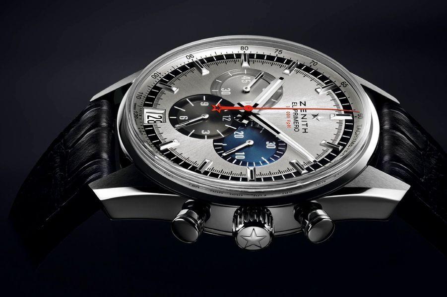Le chronographe El Primero 36 000 VPH réinterprète les codes Zénith. A la fiabilité du calibre de série le plus célèbre s'ajoute la rapidité de l'aiguille des secondes, dite foudroyante, effectuant 10 sauts par seconde et un tour de cadran en 10 secondes. Comme sur le modèle original, daté de 1969, les trois compteurs du chronomètre affichent les secondes, en gris clair, les minutes, en bleu et les heures, en anthracite. Boîtier en acier (42 mm), réserve de marche de 50 heures, sur bracelet en alligator noir. 6 500 euros.