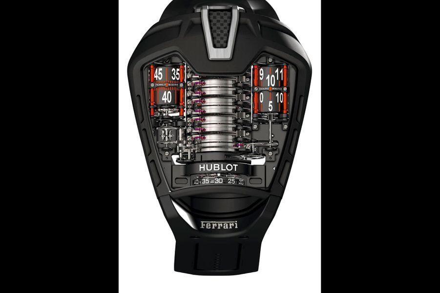 Conçue, développée et produite par les ingénieurs et horlogers de Hublot, en parallèle avec les équipes de Ferrari, la MP05 « La Ferrari » est une record watch ! Pour ses 50 jours d'autonomie de réserve de marche, grâce à 11 barillets, et pour son nombre impressionnant de composants, 637, dont un tourbillon. L'affichage inédit permet une lecture de l'heure plus simple qu'il n'y paraît : devant, à la verticale, la petite seconde est fixée sur la cage du tourbillon suspendu ; au centre, les barillets, comme une colonne vertébrale ; à droite, les heures et les minutes affichées sur un cylindre et, à gauche, la réserve de marche. Ces cylindres bénéficient de barres de renfort rouge Ferrari. Boîtier en titane PVD noir, glace saphir rappelant la ligne de la voiture, couronne de remontage positionnée sous la boîte, sur bracelet en caoutchouc noir. Série de 50 exemplaires numérotés, prix sur demande.