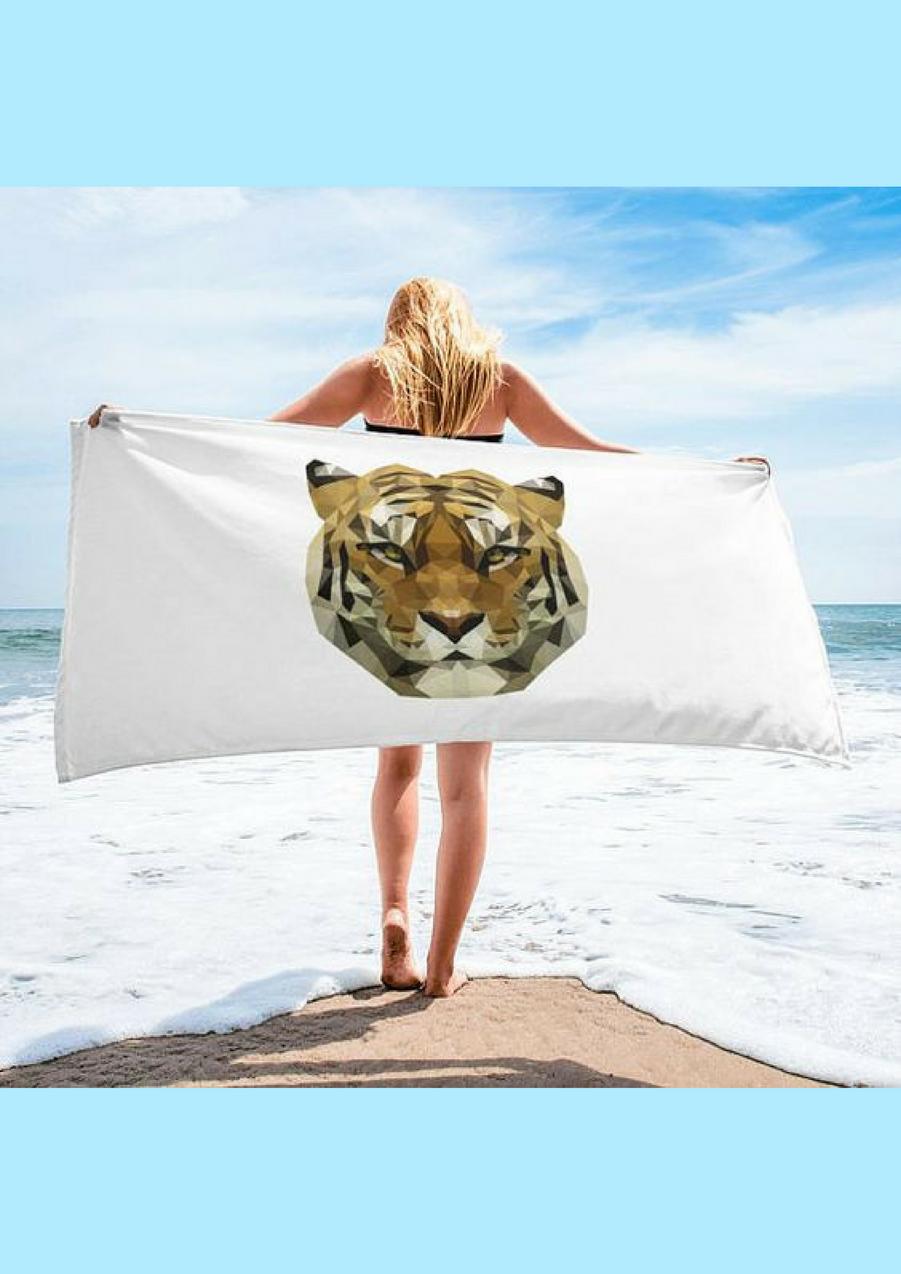 Serviette de plage rectangulaire avec tête de tigre, 59.99€Voir l'épingle