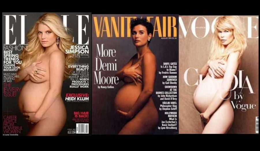 Depuis Demi Moore en 1991, de nombreuses célébrités ont posé, enceinte, en couverture de magazines. Jessica Simpson, qui attend son premier enfant avec son compagnon Eric Johnson, est la dernière en date. Elle l'a fait pour le magazine Elle US du mois d'avril.
