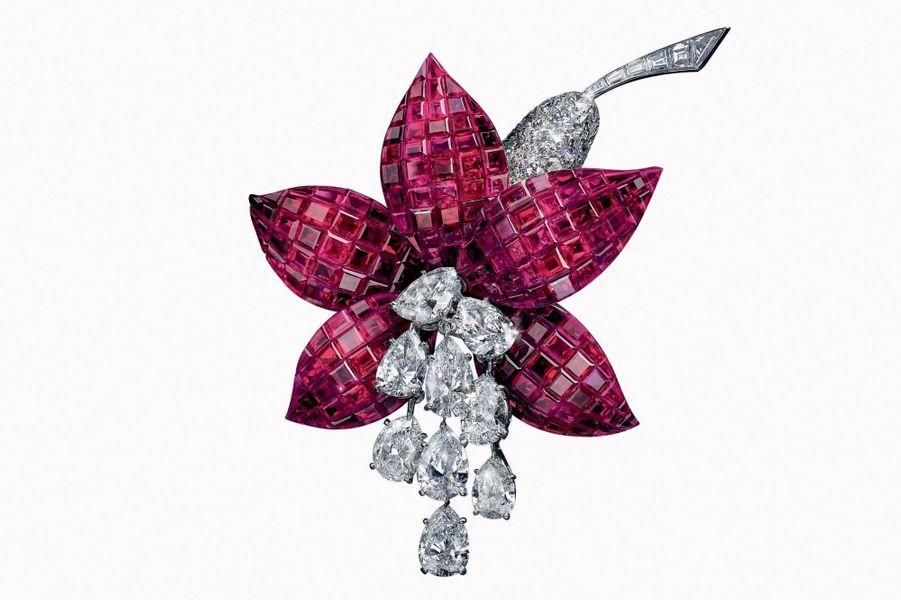 Clip Fuchsia en Serti mystérieux de rubis et diamants créé en 1968 par Van Cleef & Arpels.
