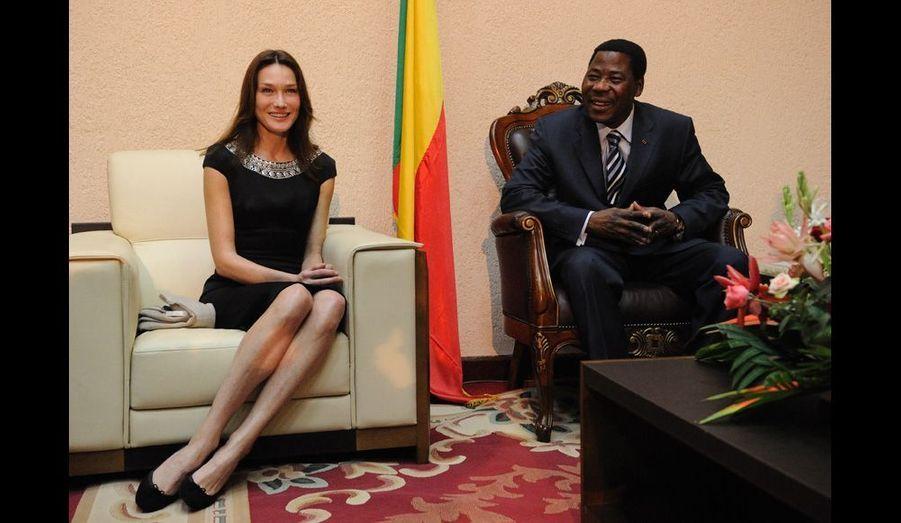 En février 2010, l'épouse du président français s'est rendue au Bénin dans le cadre de sa missiond'ambassadrice du Fonds mondial de lutte contre le sida, la tuberculose et le paludisme, chargée de la protection des mères et des enfants.