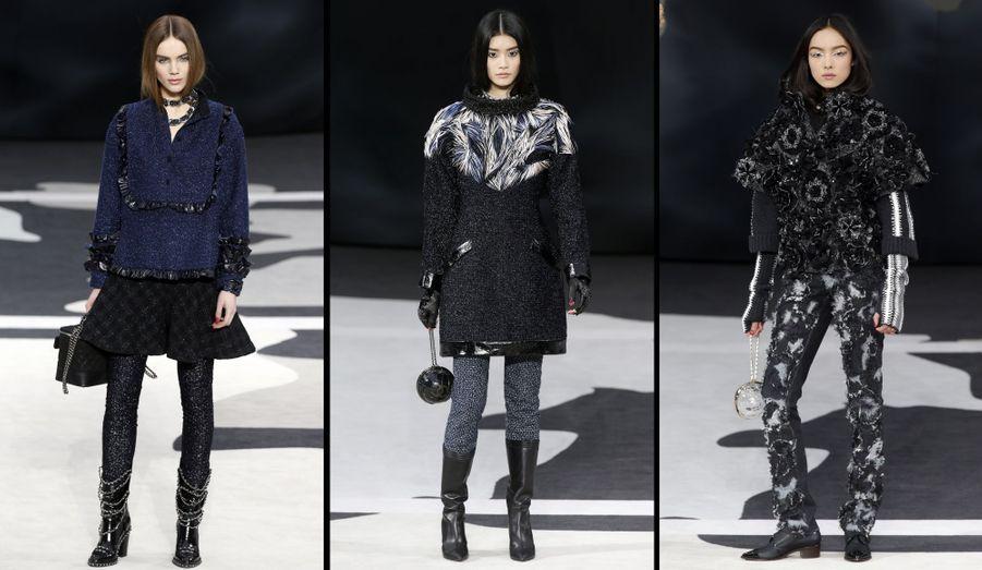 A gauche: une jupe à damiers au-dessus d'un legging à effet brillant. Au centre: des plumes en trompe-l'oeil. A droite: déclinaison de camélia, en manteau et pantalon.