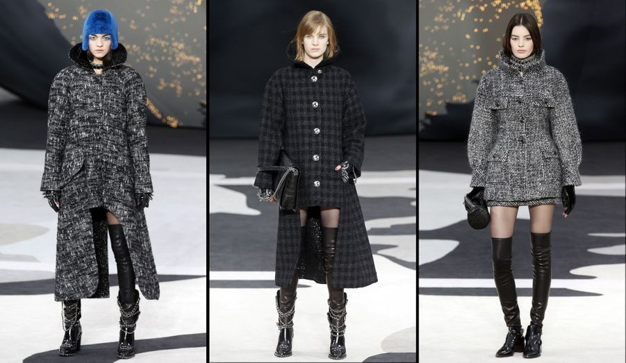 Long derrière et court devant, gris ou noir, le manteau a aussi une déclinaison plus ample en tweed court.