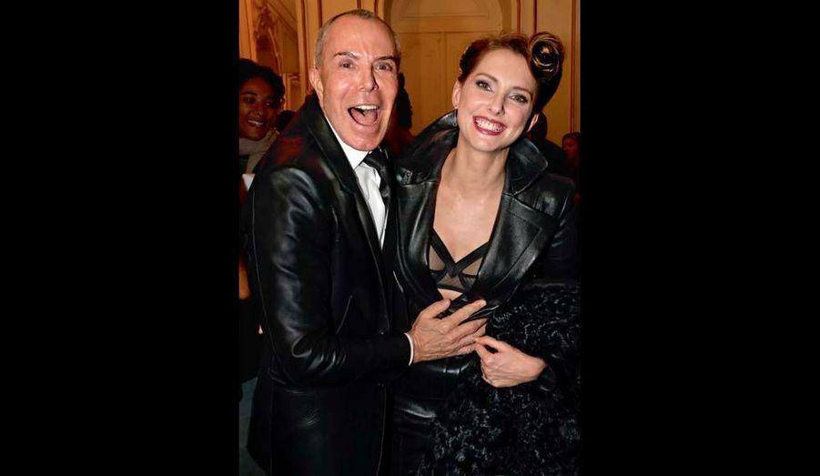 Jean-Claude Jitrois, euphorique, et Frédérique Bel dont le nouveau film « Hôtel Normandy » sort le 8 mai.