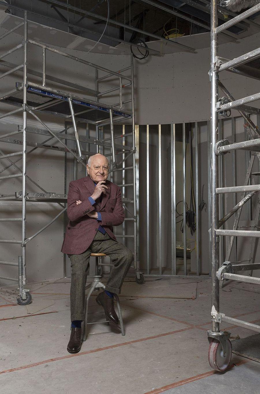 Pierre Bergé dans les travaux du Musée Yves Saint-Laurent, 2017.