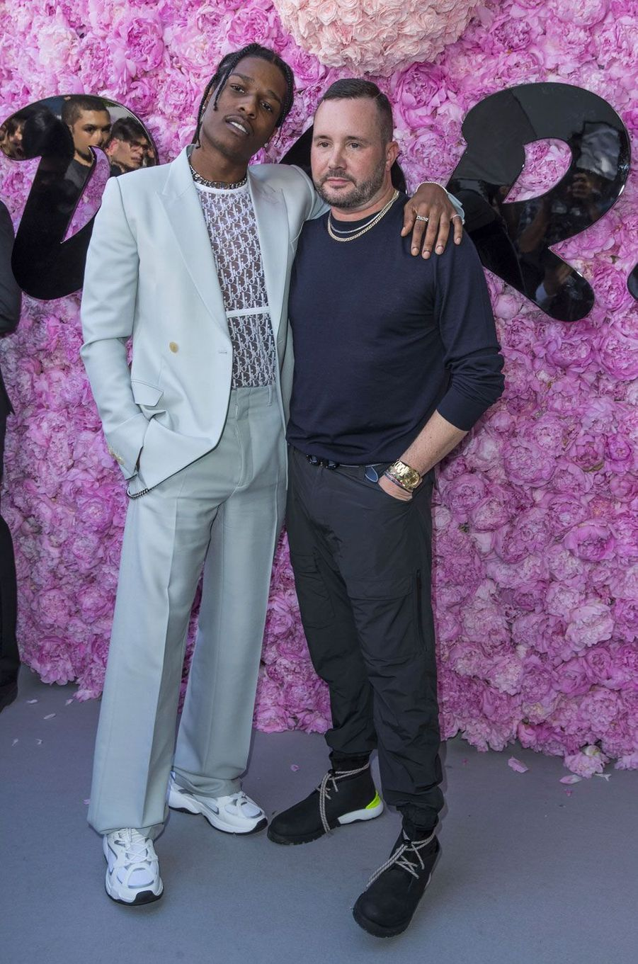 A$AP Rocky et Kim Jones au défilé Dior Homme, printemps-été 2019 le 23 juin 2018 à Paris
