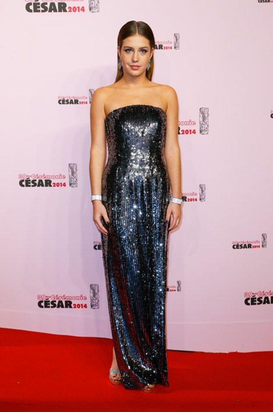 L'actrice Adèle Exarchopoulos lors de la cérémonie des César à Paris, le 28 février 2014