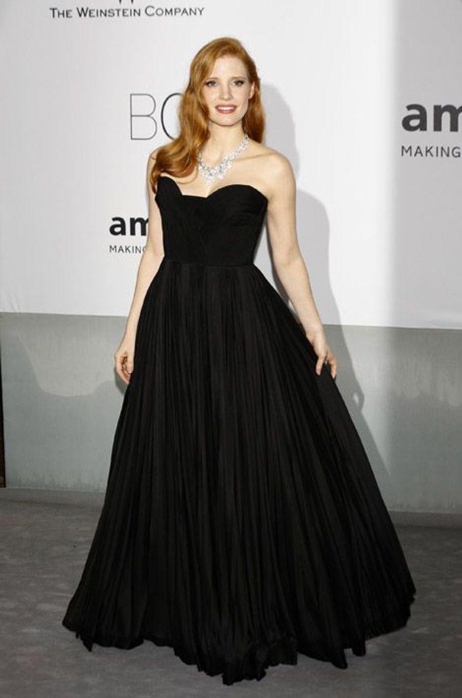 L'actrice Jessica Chastain lors du gala de l'AmfAR, le 22 mai 2014