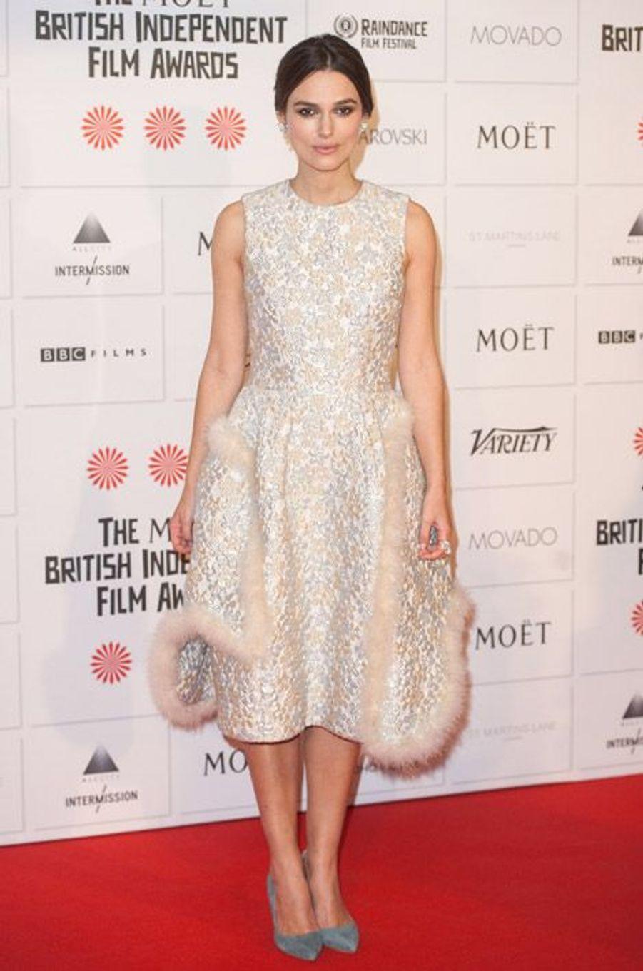 L'actrice Keira Knightley en Simone Rocha à Londres, lors de la cérémonie Moet British Independent Film Awards à Londres, le 7 décembre 2014