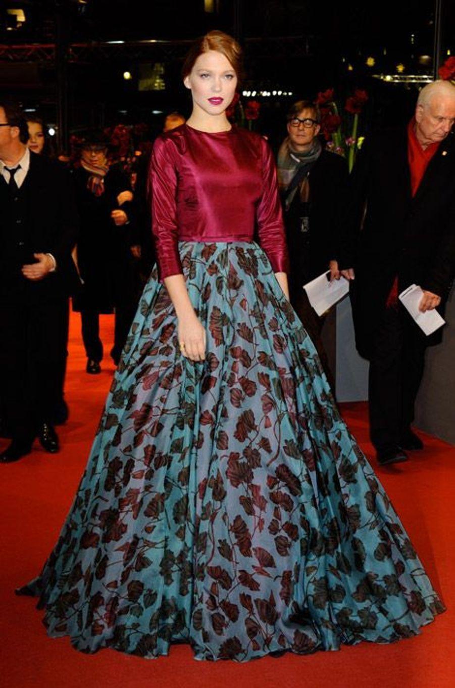 """L'actrice Léa Seydoux en Prada pour la première de """"La Belle et la bête"""" à Berlin, le 14 février 2014"""