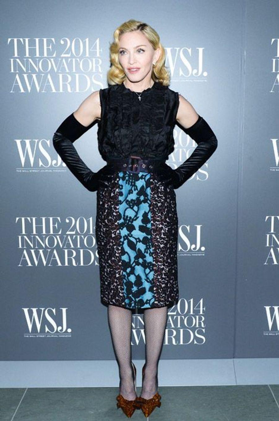 Madonna en Miu Miu à la soirée Innovator Awards à New York, le 5 novembre 2014