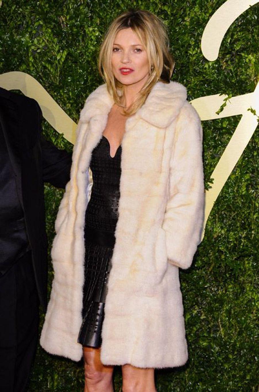 Kate Moss à la cérémonie British Fashion Awards, à Londres, le 2 décembre 2013