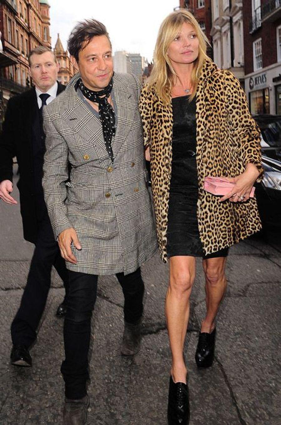 Kate Moss fête ses 40 ans à Londres avec son mari, Jamie Hince, le 16 janvier 2014