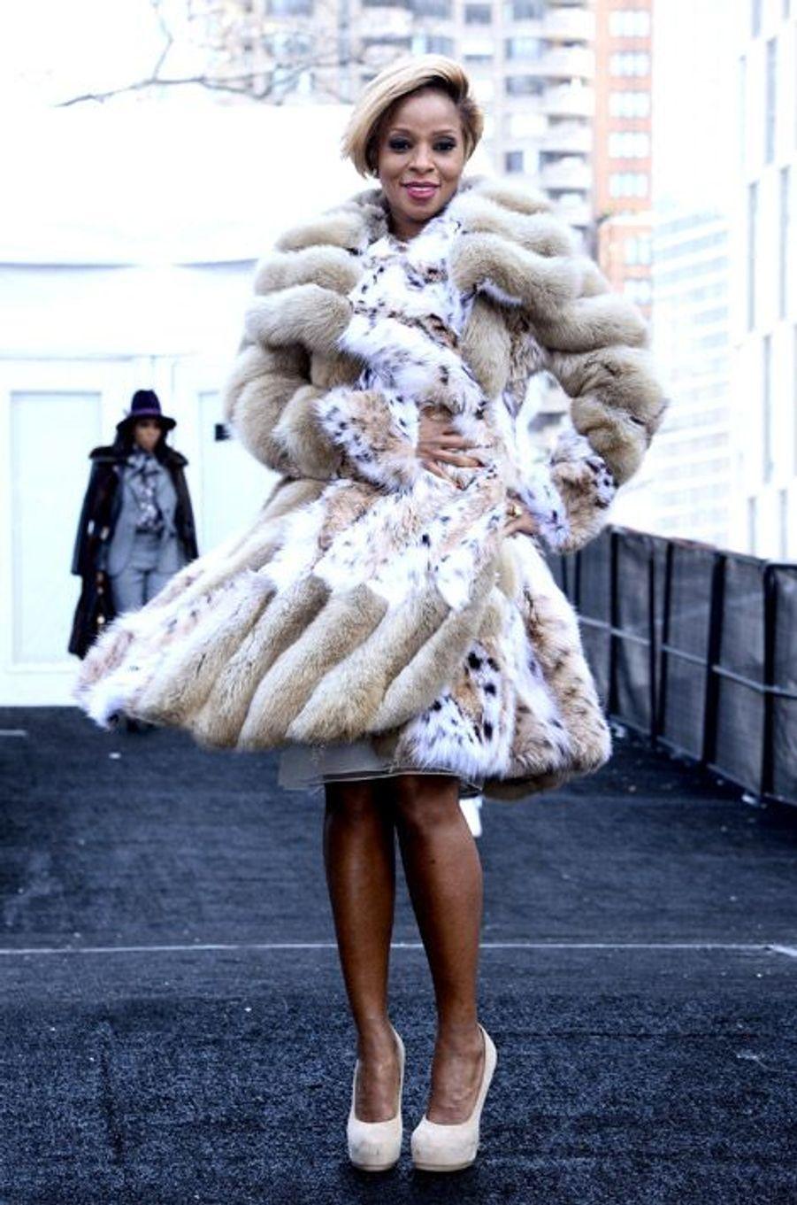 La chanteuse américaine Mary J.Blige à New York, le 10 février 2014 pendant la Fashion Week