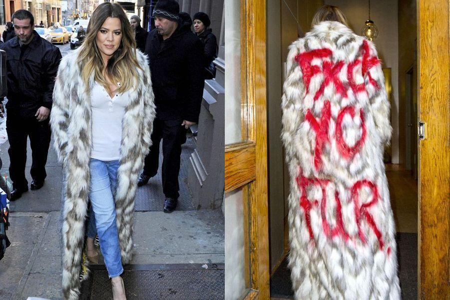 La star de la téléréalité américaine, Khloe Kardashian, milite contre la fourrure, à New York, le 17 février 2014