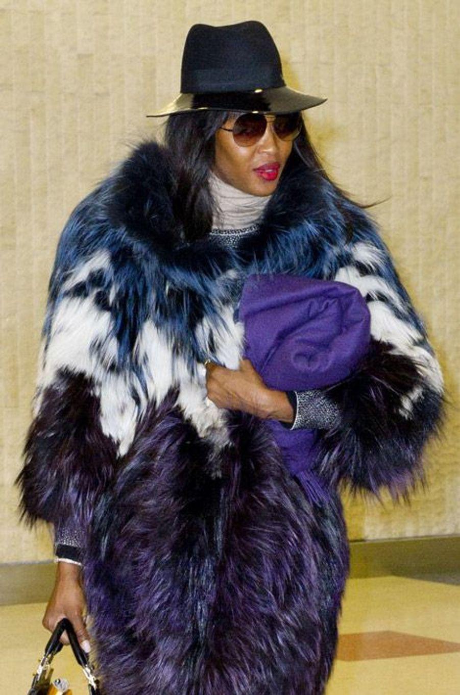 Naomi Campbell à l'aéroport JFK de New York, le 28 janvier 2014