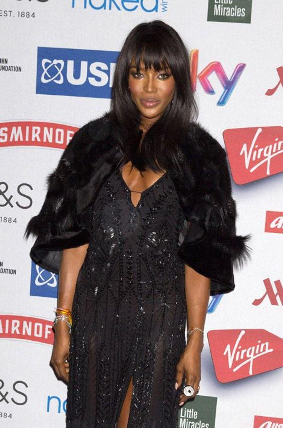 Naomi Campbell lors d'une soirée à Londres, le 13 octobre 2014