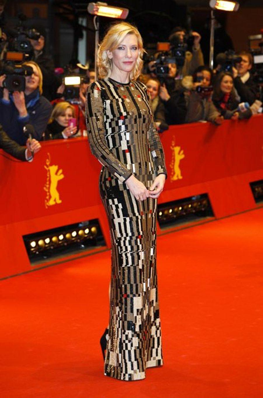 """L'actrice Cate Blanchett en Givenchy pour la projection de """"Cinderella"""" à Berlin, le 13 février 2015"""