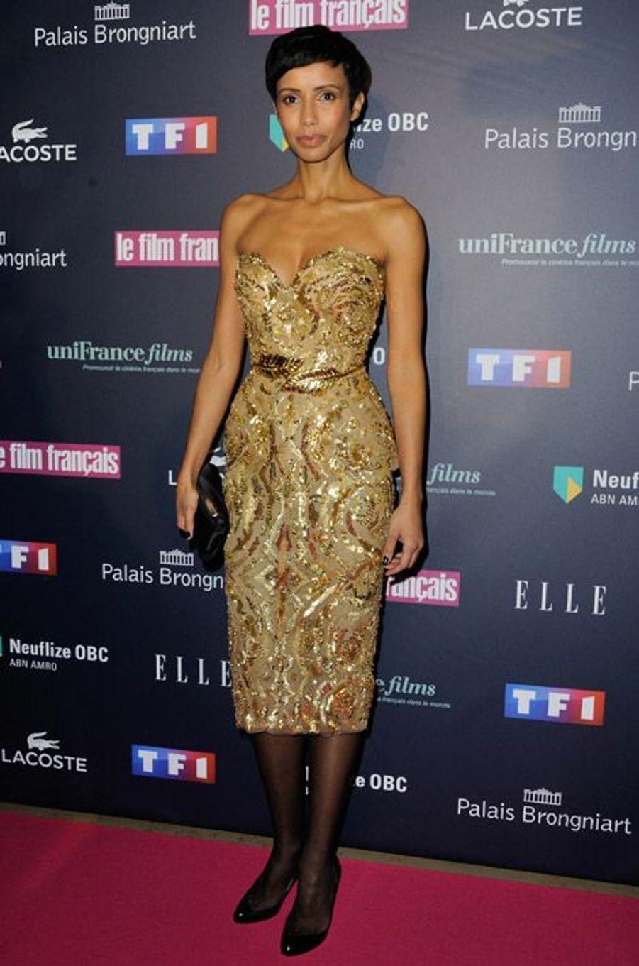 L'ancienne Miss France, Sonia Rolland, lors de la cérémonie des Trophées du Film Français, à Paris, le 12 février 2015