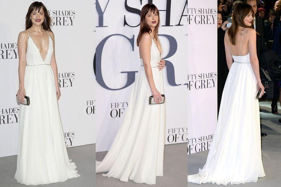 La star du film 50 Nuances de Grey, Dakota Johnson, en Saint Laurent pour la première du film à Londres, le 12 février 2015