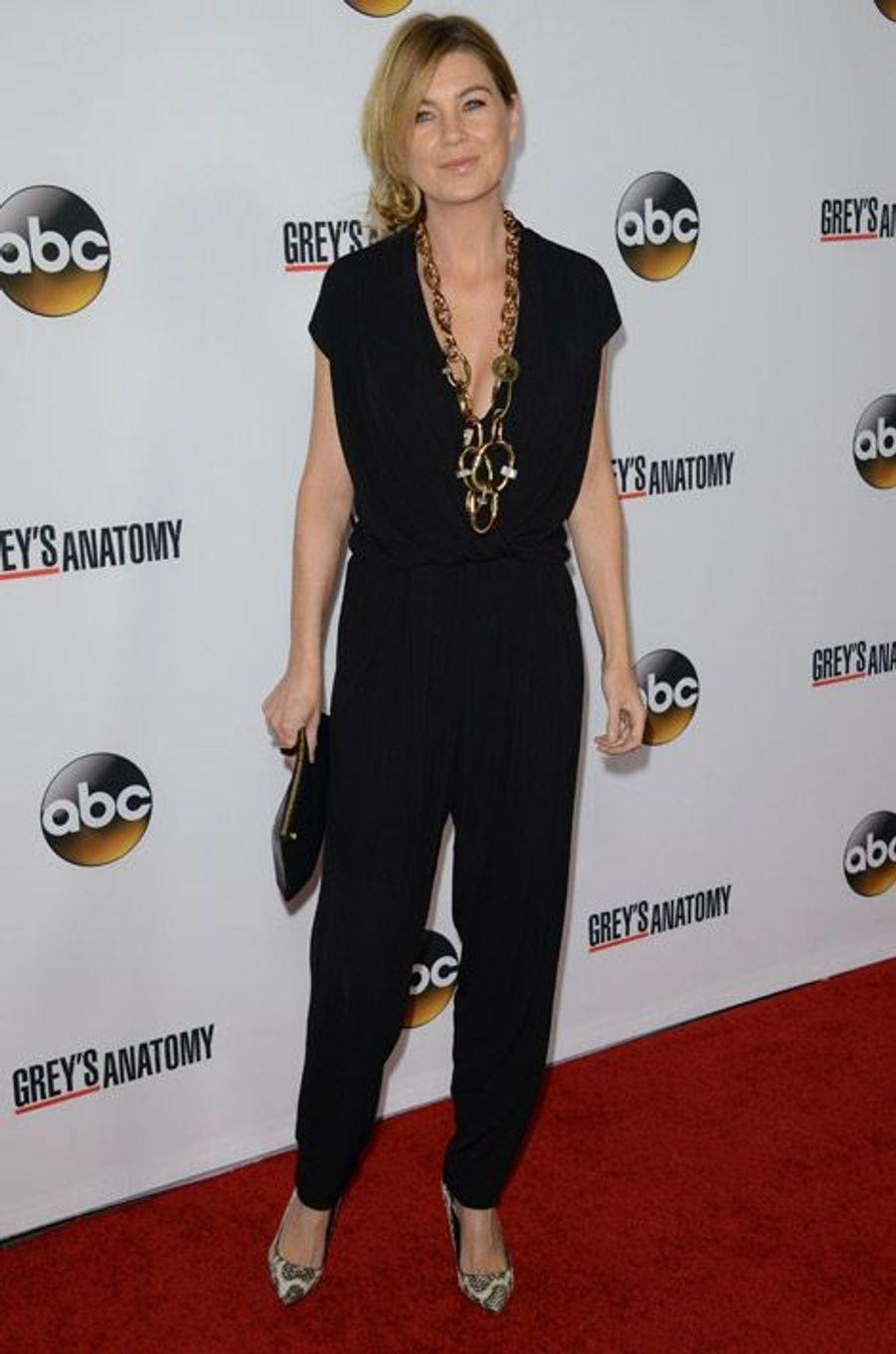 """Ellen Pompeo, l'actrice de """"Grey's Anatomy"""" en Lanvin pour fêter le 200e épisode de la série le 28 septembre 2013"""