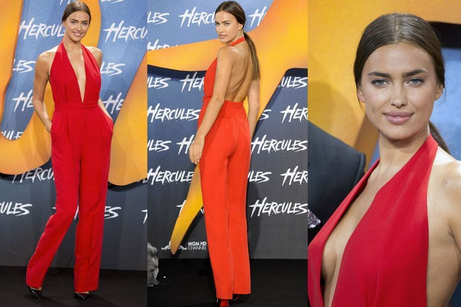 """Le mannequin russe et actrice Irina Shayk en Valentino pour la première de """"Hercules"""" à Berlin, le 21 août 2014"""