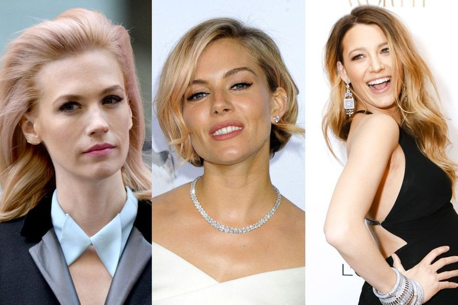"""Blake Lively, January Jones, Lily Allen... : les stars aux cheveux blond vénitien succombent aux reflets roses ou """"strawberry blonde"""""""