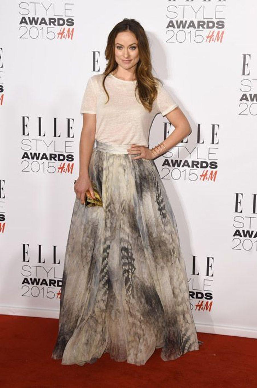 L'actrice Olivia Wilde en H&M Conscious lors des ELLE Style Awards à Londres, le 24 février 2015