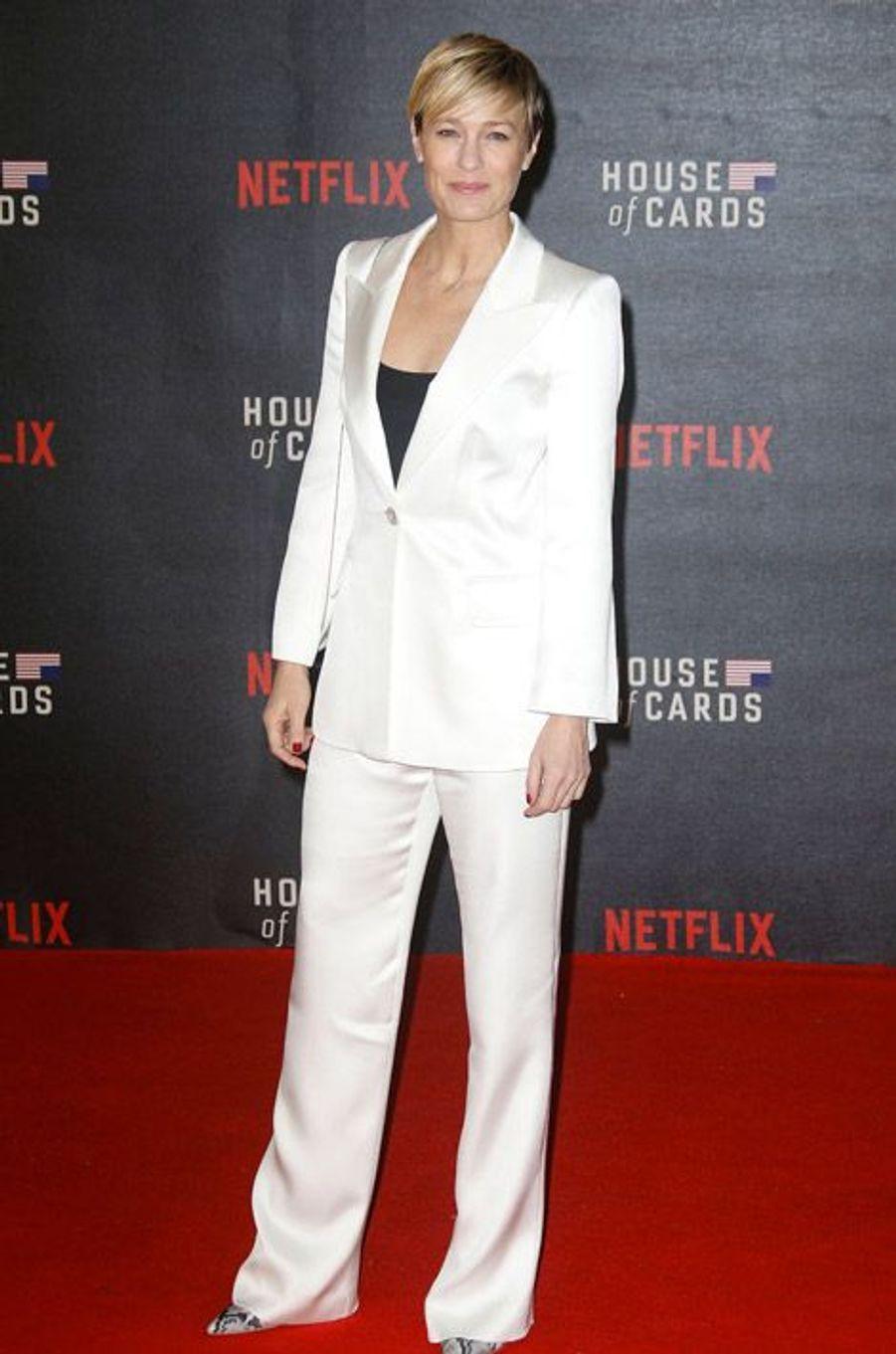 """L'actrice Robin Wright lors de la présentation de la saison 3 de """"House of Cards"""" à Londres, le 26 février 2015"""