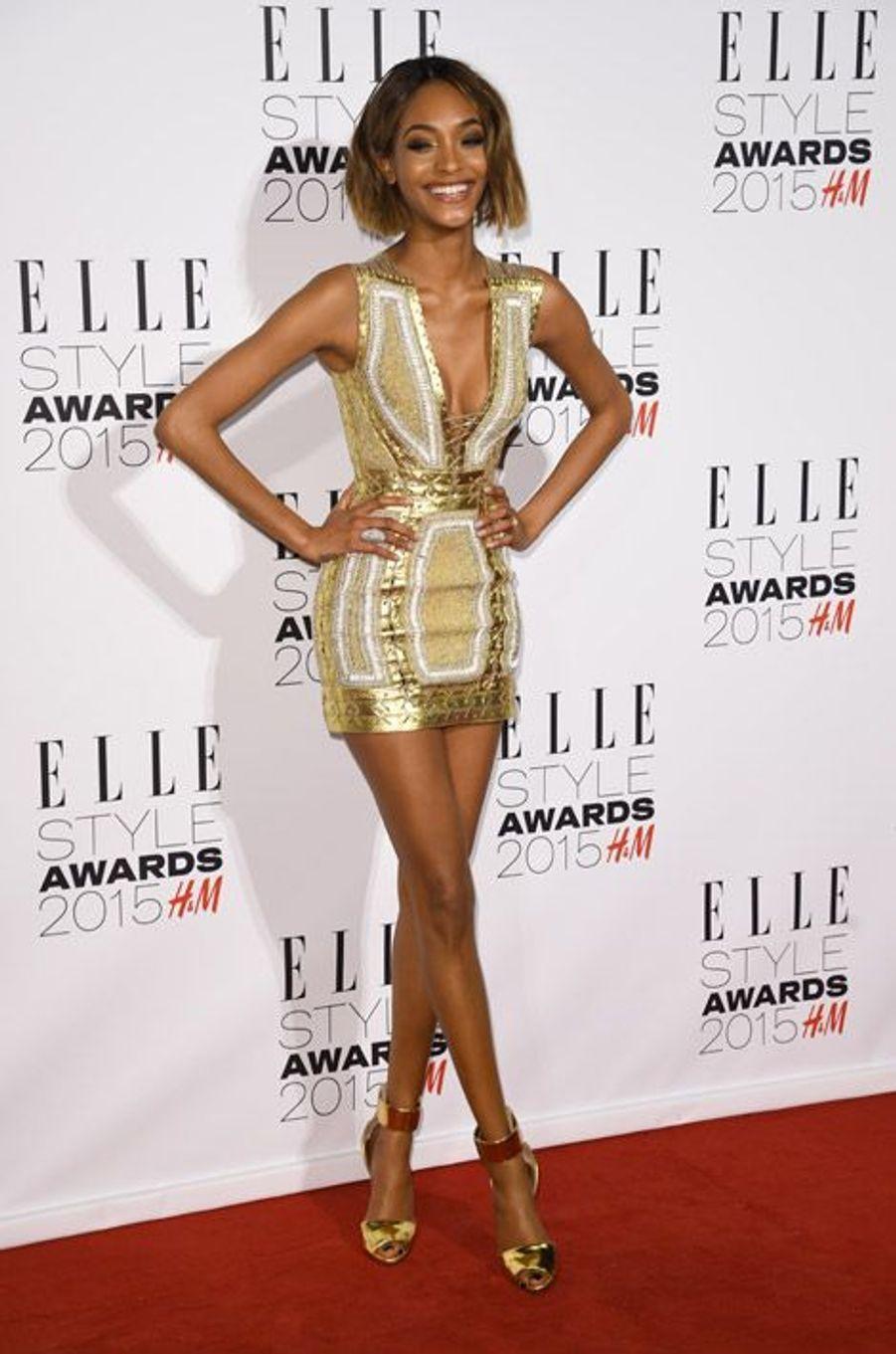 Le mannequin Jourdan Dunn lors des ELLE Style Awards à Londres, le 24 février 2015