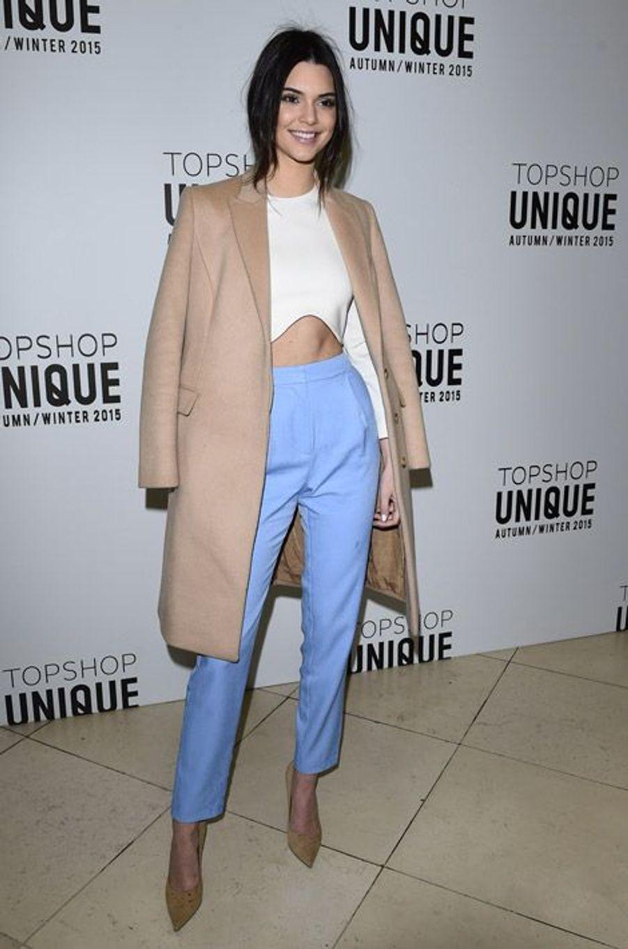 Le mannequin Kendall Jenner lors du défilé TopShop Unique à Londres, ce 22 février 2015