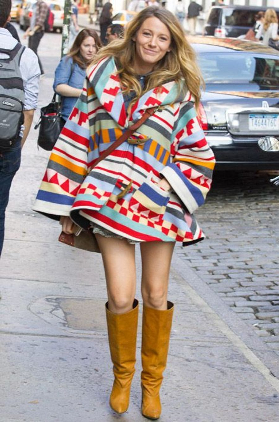 Inspiration western : l'actrice Blake Lively à New York, le 17 octobre 2014