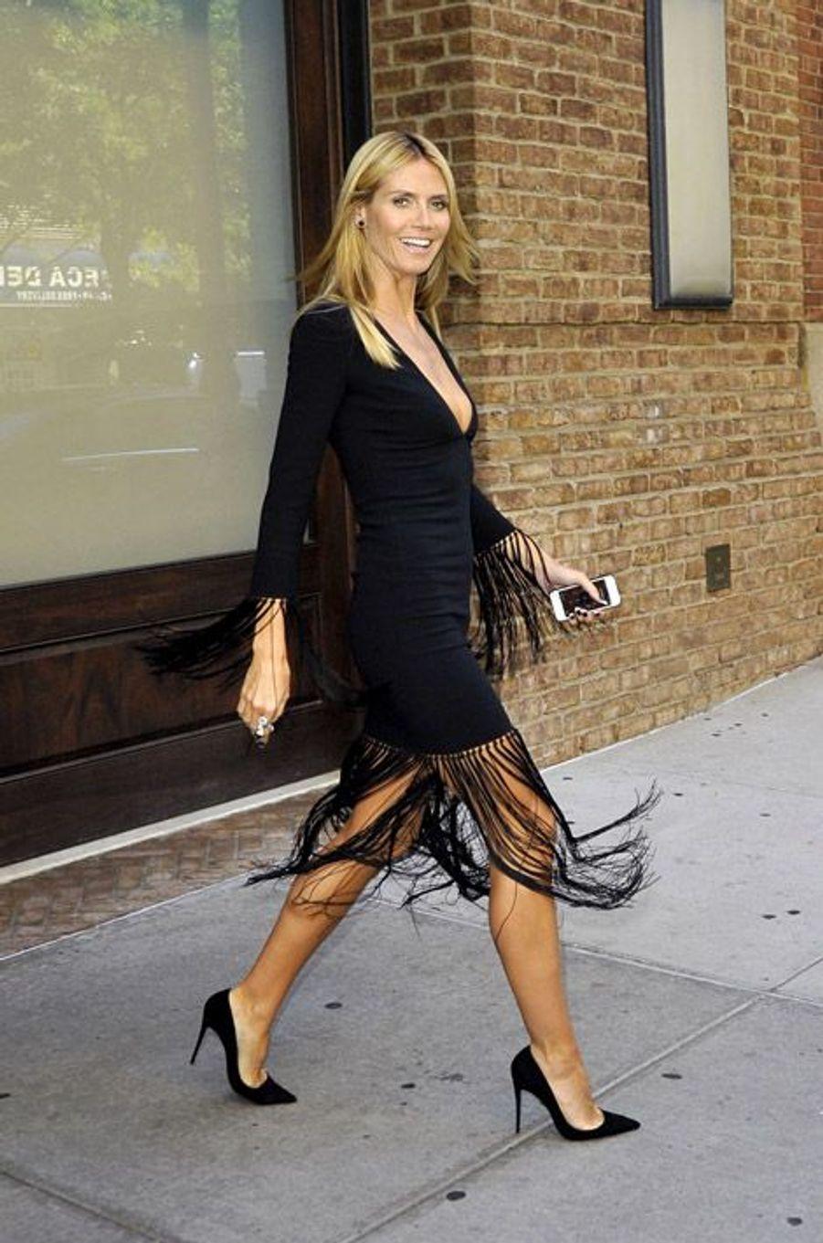 Inspiration western : le mannequin Heidi Klum à New York, le 10 septembre 2014