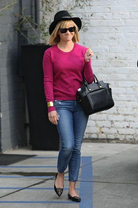 Le léopard par petites touches : les mocassins de Reese Witherspoon à Beverly Hills, le 7 janvier 2014
