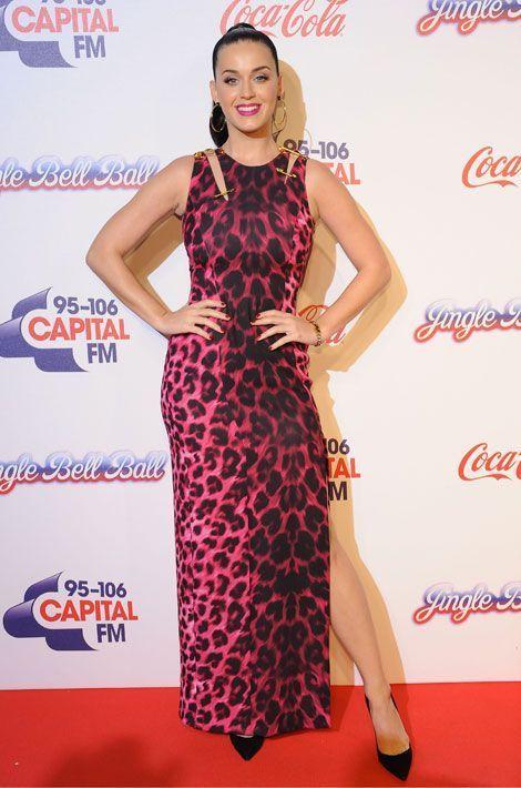 Le léopard pop : la chanteuse Katy Perry lors du Jingle Bell Ball à Londres, le 7 décembre 2013