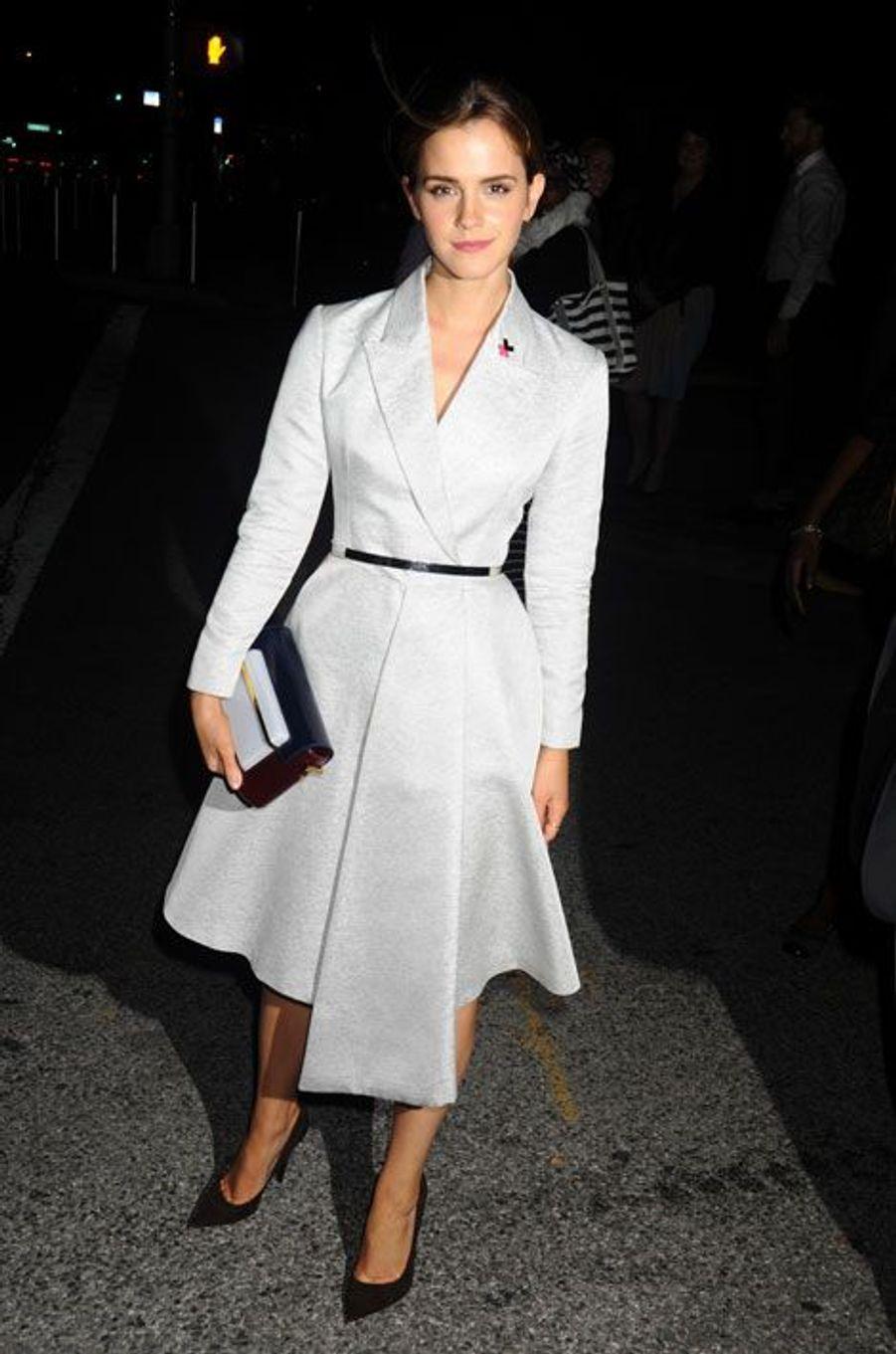 L'actrice britannique Emma Watson en Christian Dior, devient ambassadrice de bonne volonté pour les Nations Unies, à New York, le 20 septembre 2014