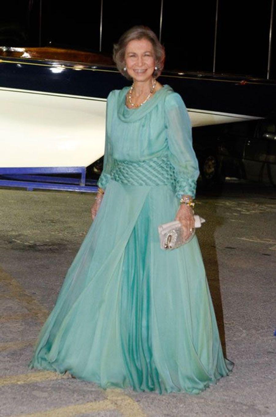 L'ancienne reine d'Espagne, Sophia d'Espagne, assiste aux noces d'or du roi de Grèce Constantin II et de la reine Anne-Marie, le 18 septembre en Gr...