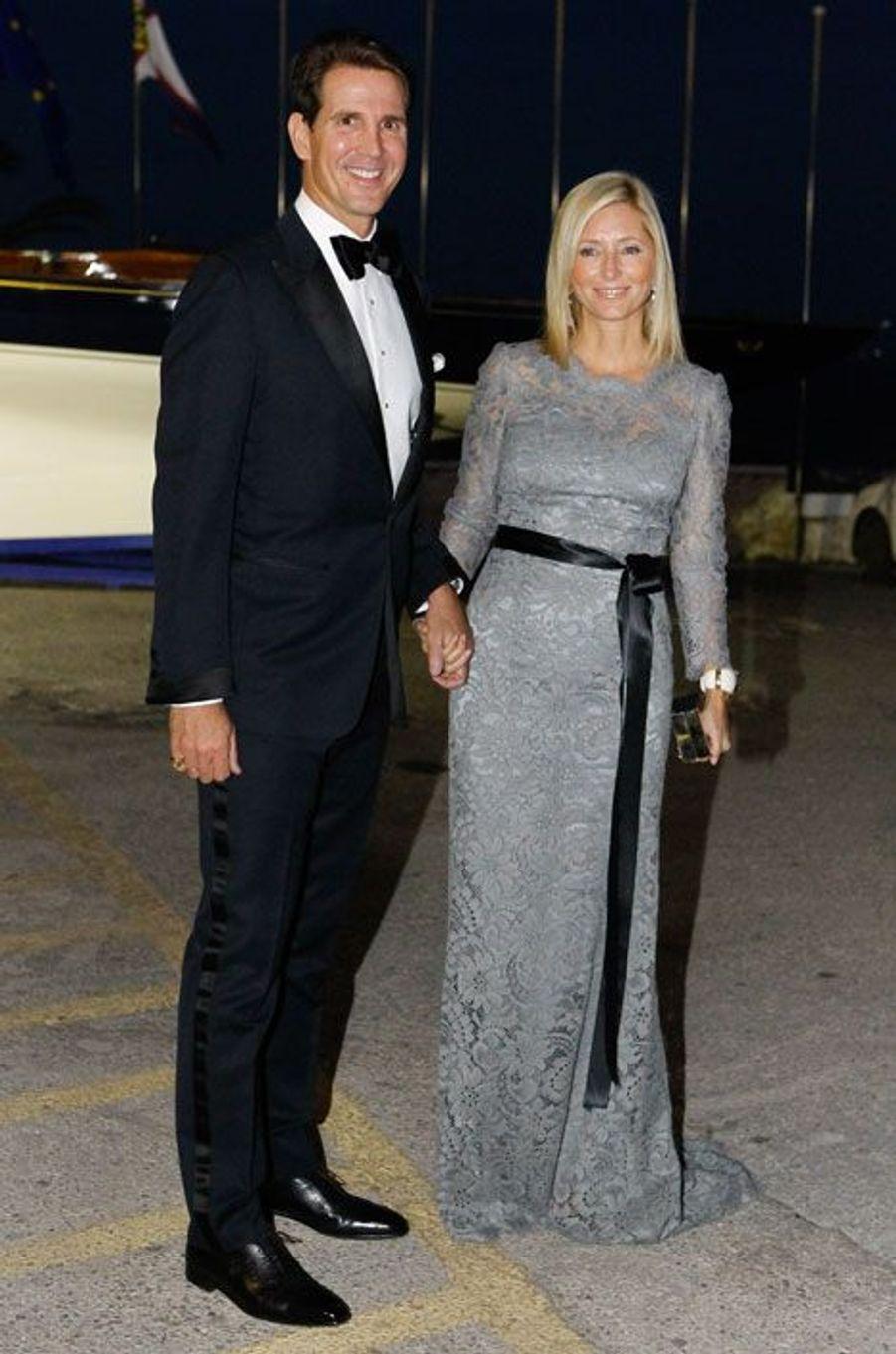 Le prince Pavlos de Grèce et la princesse Marie-Chantal de Grèce, assistent aux noces d'or du roi de Grèce Constantin II et de la reine Anne-Mari...